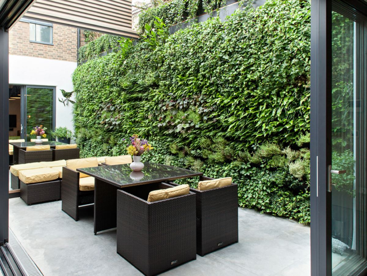 Large living wall in an outdoor space