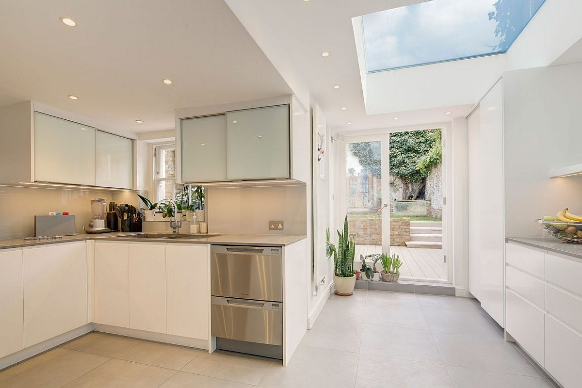 London terrace house gets smart extension with walk on for New kitchen london