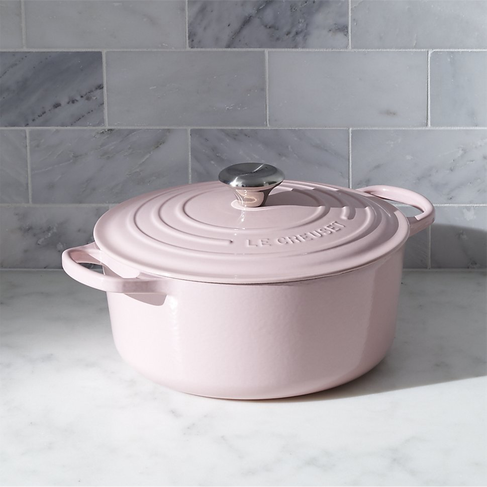 Le Creuset pot in a marble kitchen