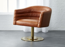Leather swivel chair from CB2