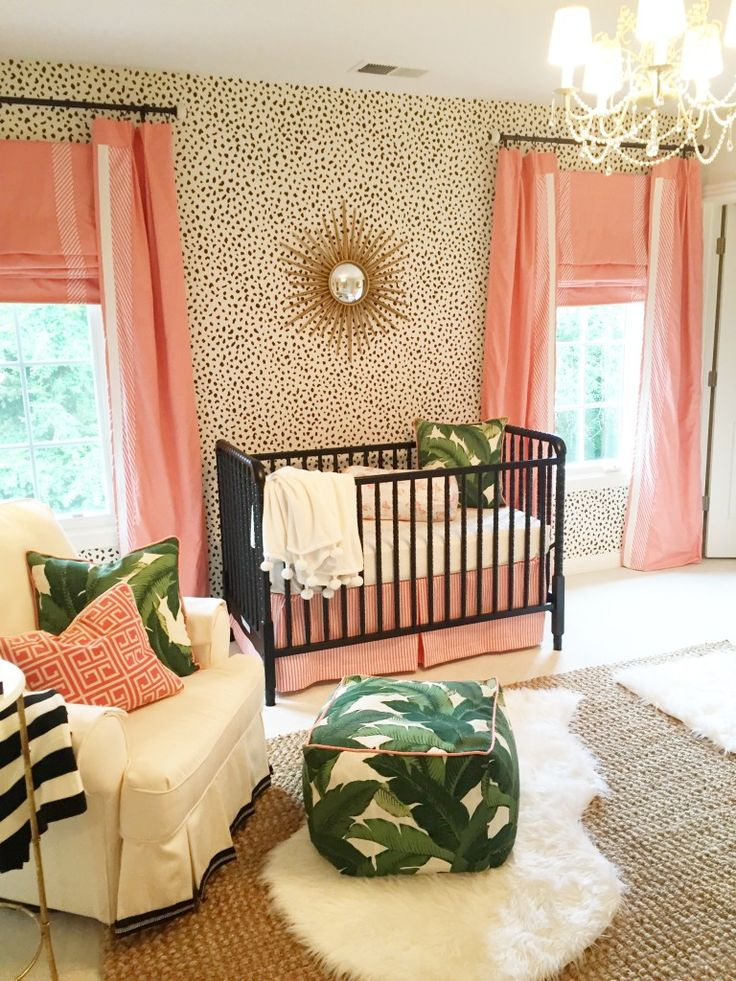 Dalmatian print wallpaper in a tropical nursery