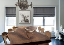 Let the smart live edge dining table anchor your cheerful dining room
