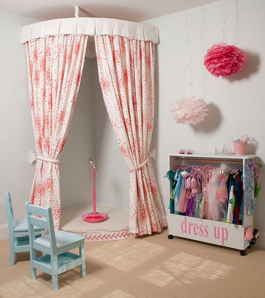Let your little darling hone here stage skills with a small corner theater! [From: Liz Carroll Interiors]