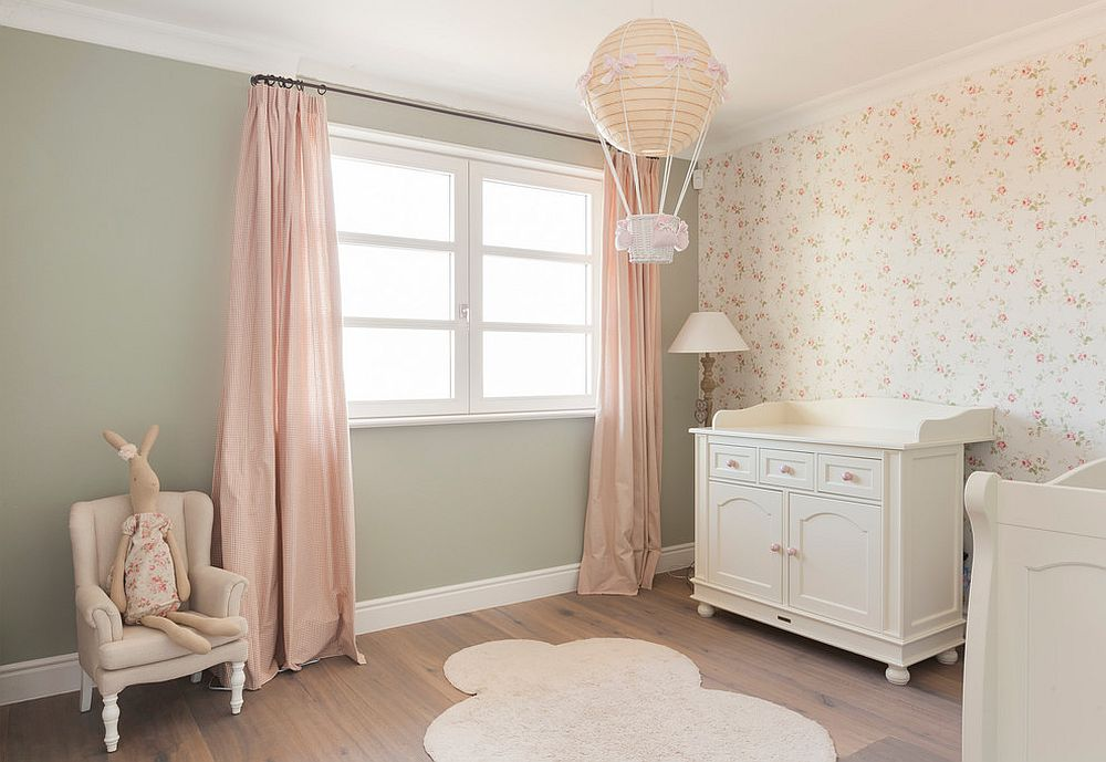 Light pink is the perfect color for shabby chic style nursery [From: Nicolás Fotografía]