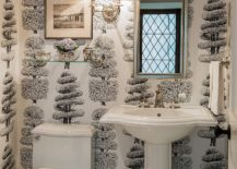 Linnaeus Noir wallpaper in the traditional powder room 217x155 Always on Trend: 20 Powder Rooms in Black and White