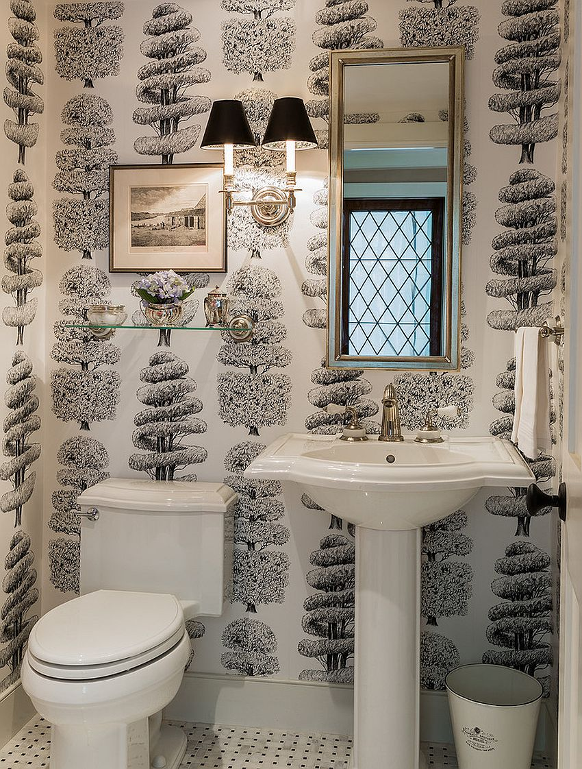 Always on trend 20 powder rooms in black and white for Wallpaper trends for bathrooms