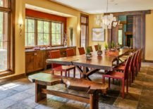 Live-edge-bench-and-dining-table-paired-with-colorful-red-chairs-217x155