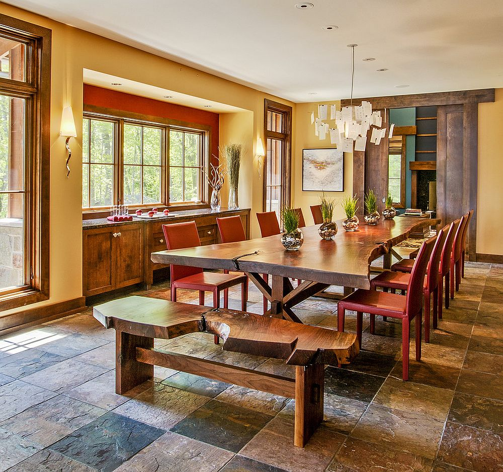 live edge bench and dining table paired with colorful red chairs design deep river