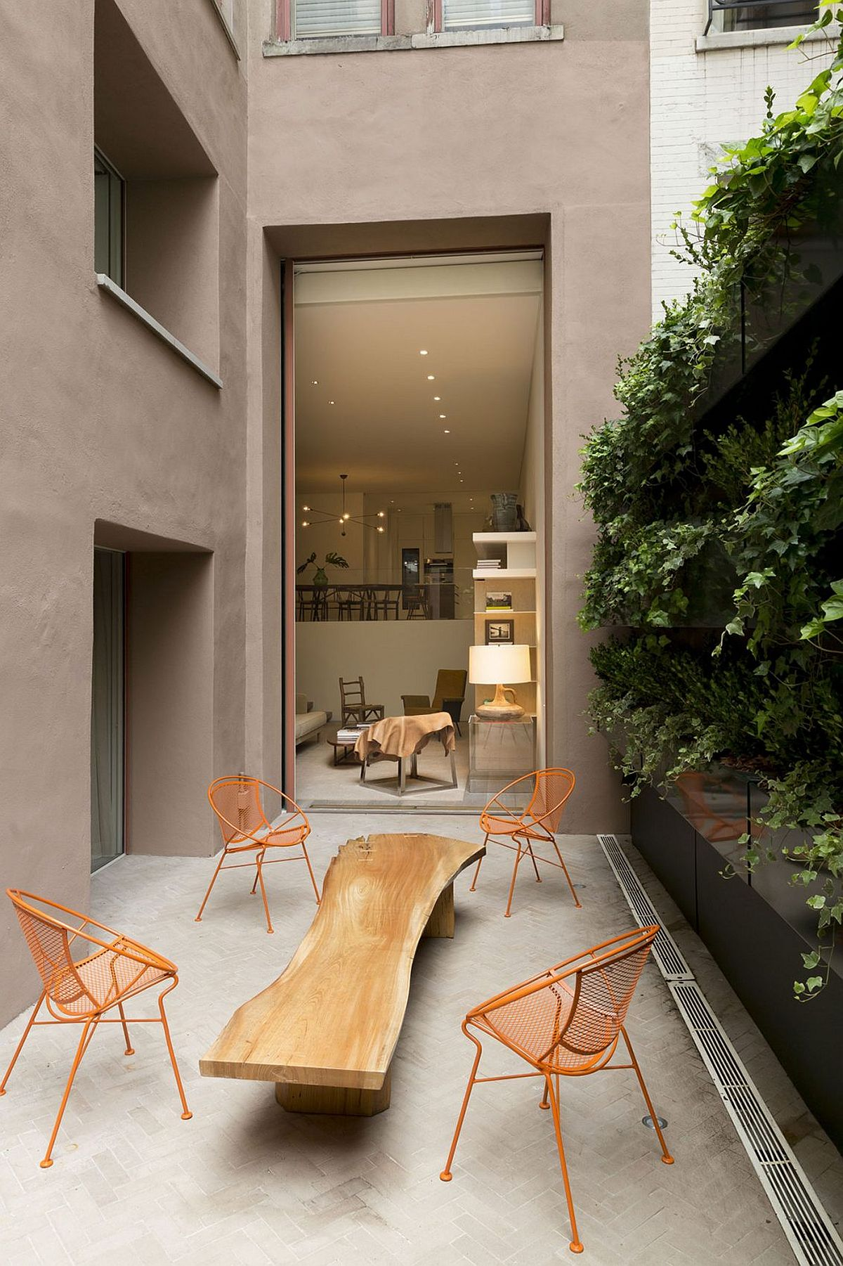 Live edge coffee table at the OM Townhouse by Studio Arthur Casas in New York City