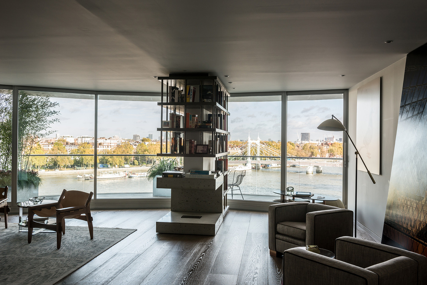 View in gallery Living room with floor-to-ceiling windows
