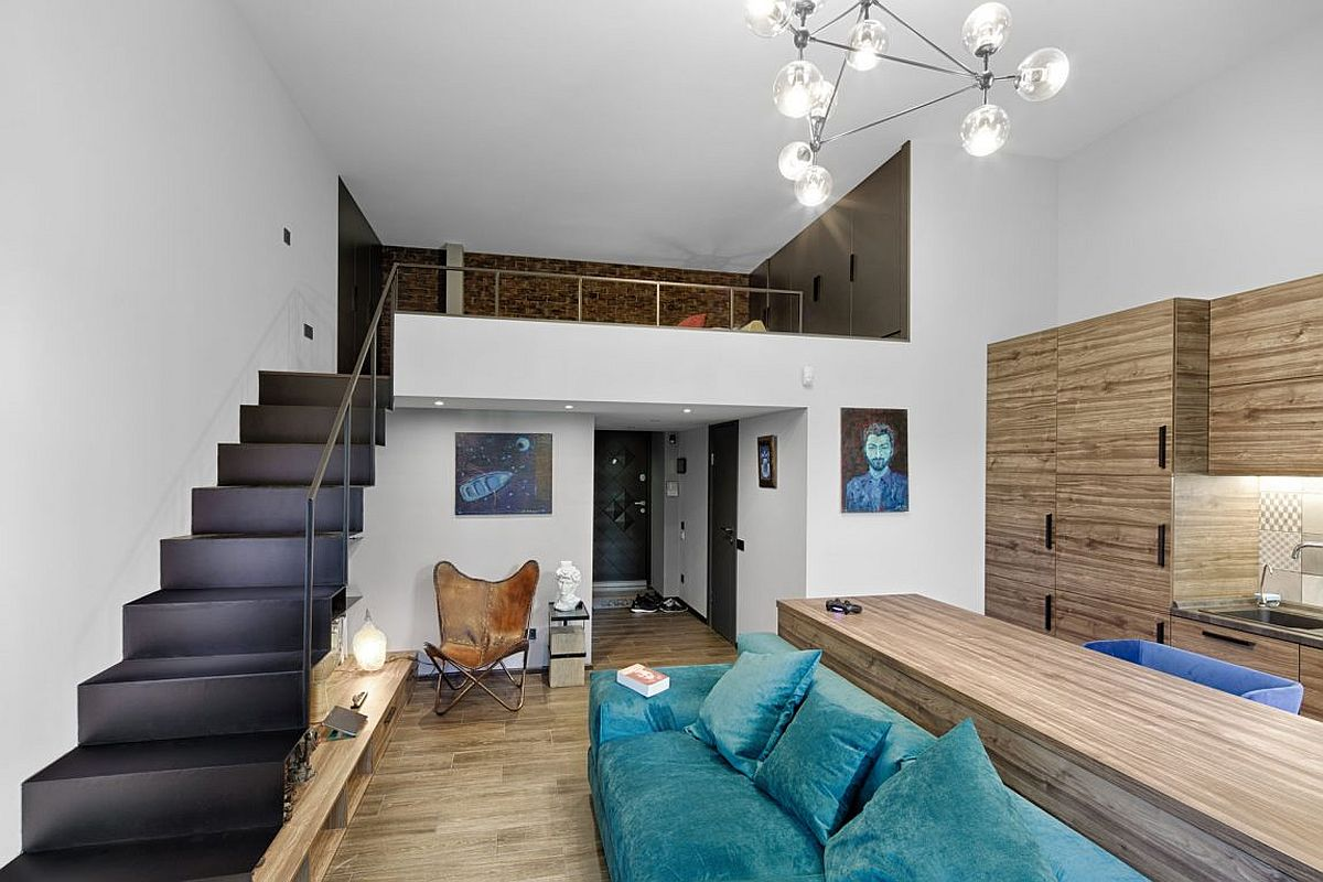 View in gallery Look at the living area and mezzanine level of the ultra  small apartment in Kiev