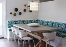 Lovely ligting and colorful seating define a fabulous banquette dining 217x155 Space Saving Design: 25 Banquettes with Built in Storage Underneath