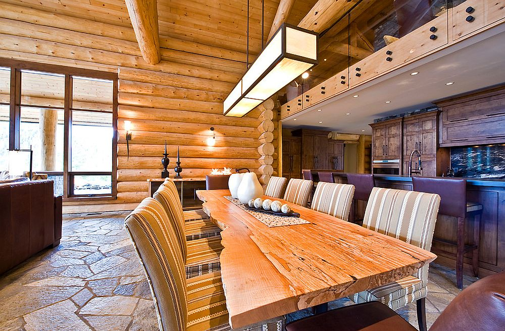 Lovely live edge dining table for the spacious rustic dining room [Design: Sticks and Stones Design Group / Lipsett photography group]