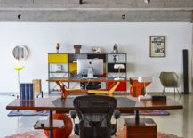 Lovely rug defines the workspace in the open area