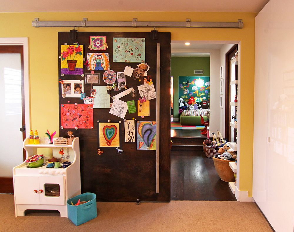 Magnetic sliding door serves more uses than one in the kids' room! [Design: Flea Market Sunday]
