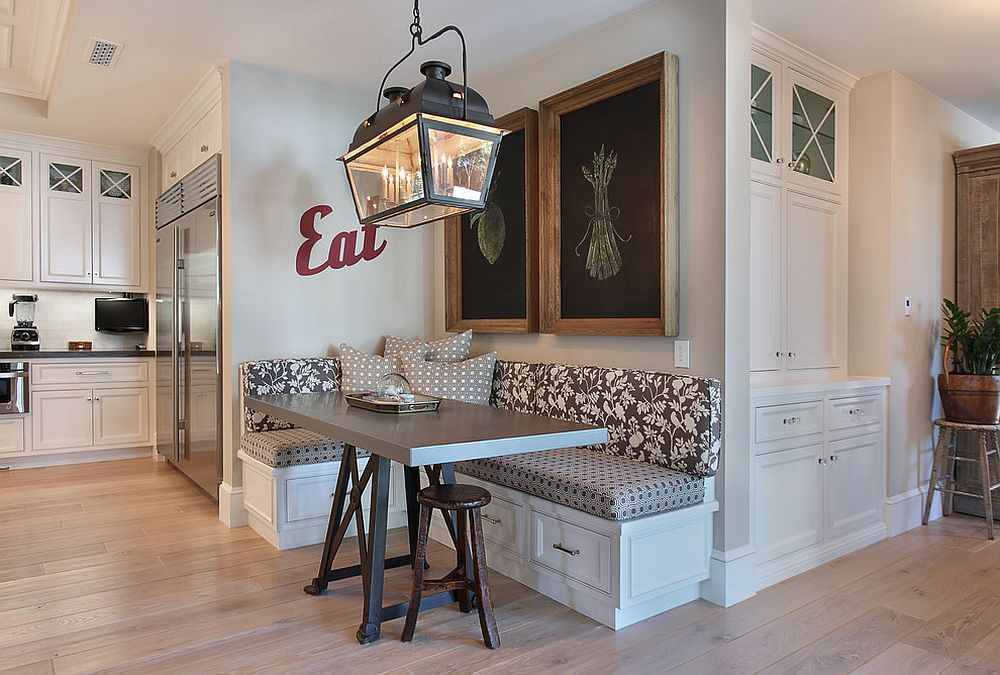 Make use of that awkward corner in the kitchen with a banquette [Design: Brandon Architects]