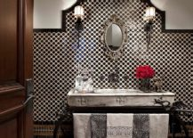Mediterranean powder room with black and white beauty