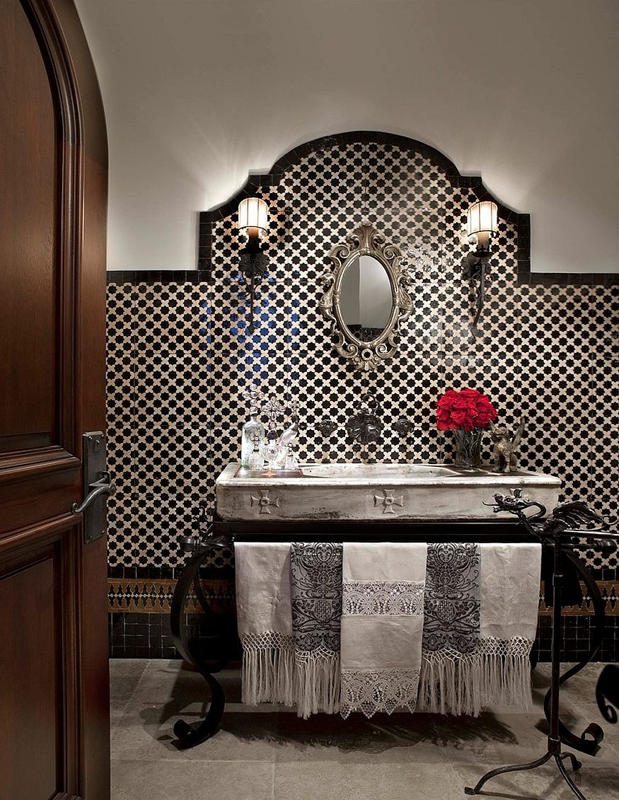 Mediterranean powder room with black and white beauty [From: Michael Woodall photographer]