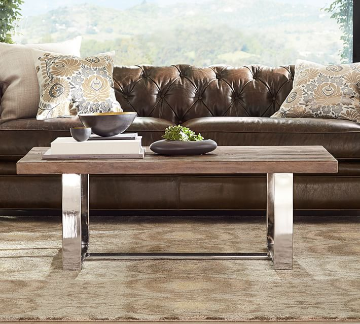 Metal and wood coffee table from Pottery Barn