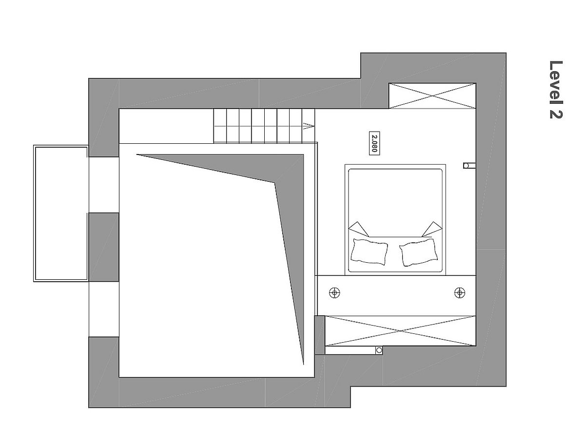 Mezzanine level floor plan that contains the bedroom and two wardrobes