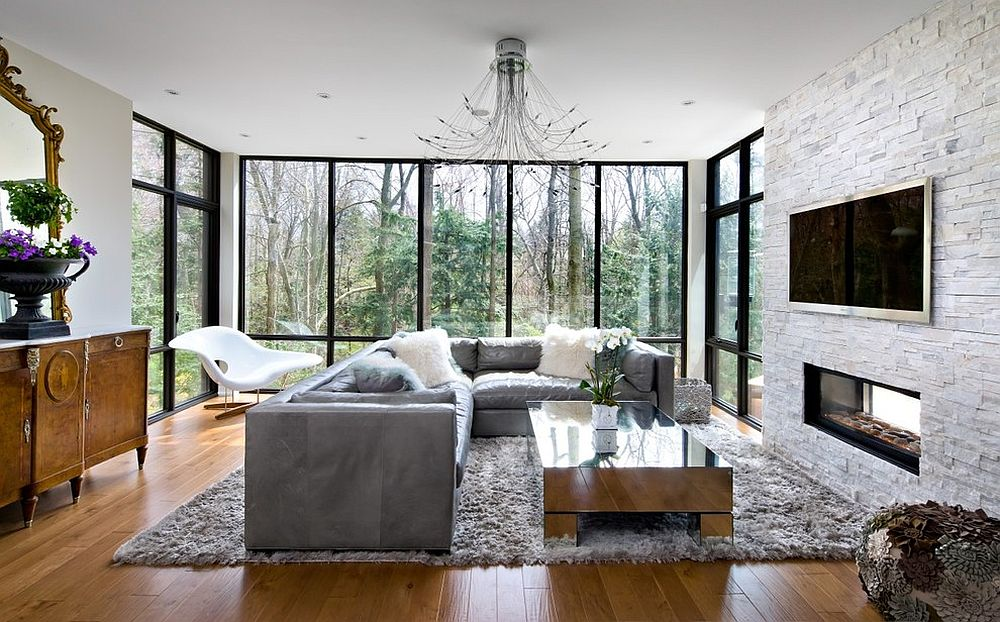 Midcentury living room with mirrored coffee table at its heart [Design: Barroso Homes]