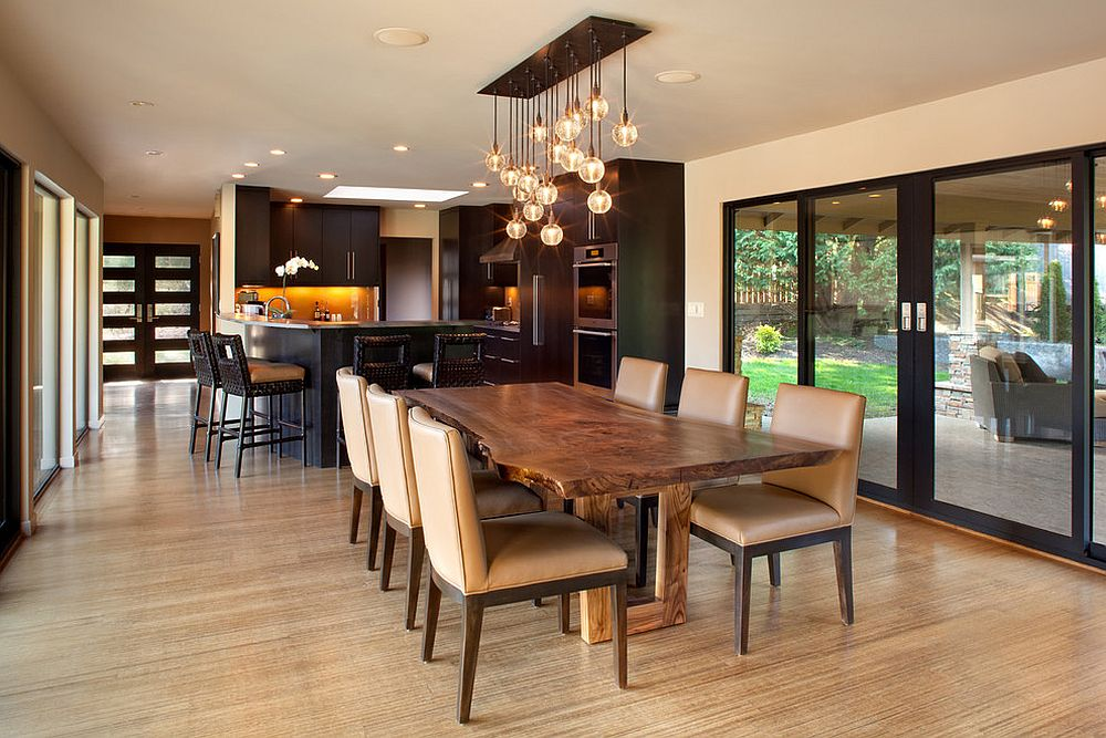 ... Midcentury Modern Dining Room Taps Into The Raw Beauty Of A Live Edge  Table [Design