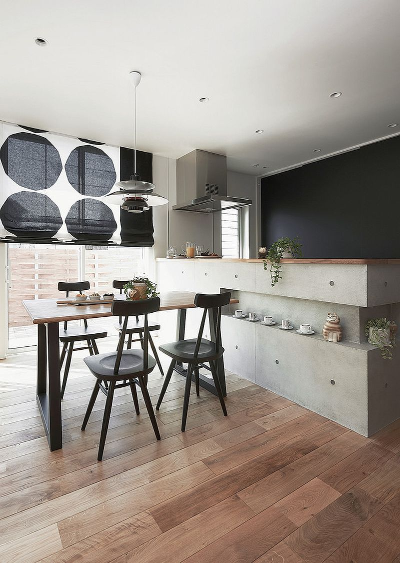 Minimal Asian dining room and kitchen rolled into one