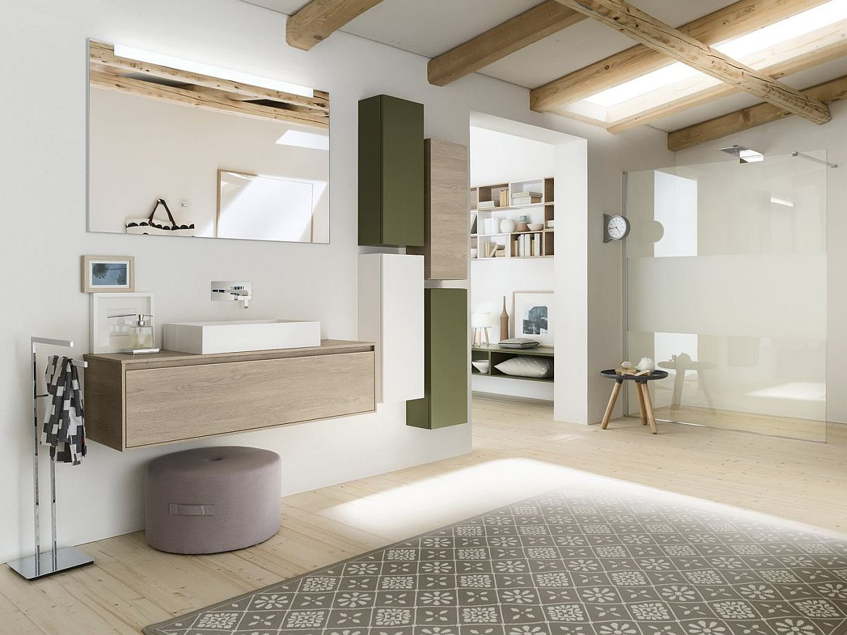 Minimal modular bathroom composition from Inda