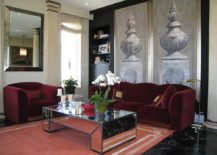 Mirrored coffee table adds glamour to the traditional living room