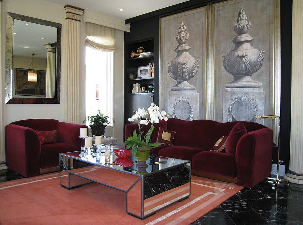 Mirrored coffee table adds glamour to the traditional living room [Design: Jerry Jacobs Design]