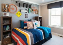Mix and match different signs to decorate the accent wall in kids room 217x155 Street Smart Style: Decorating Your Home with Road Signs!
