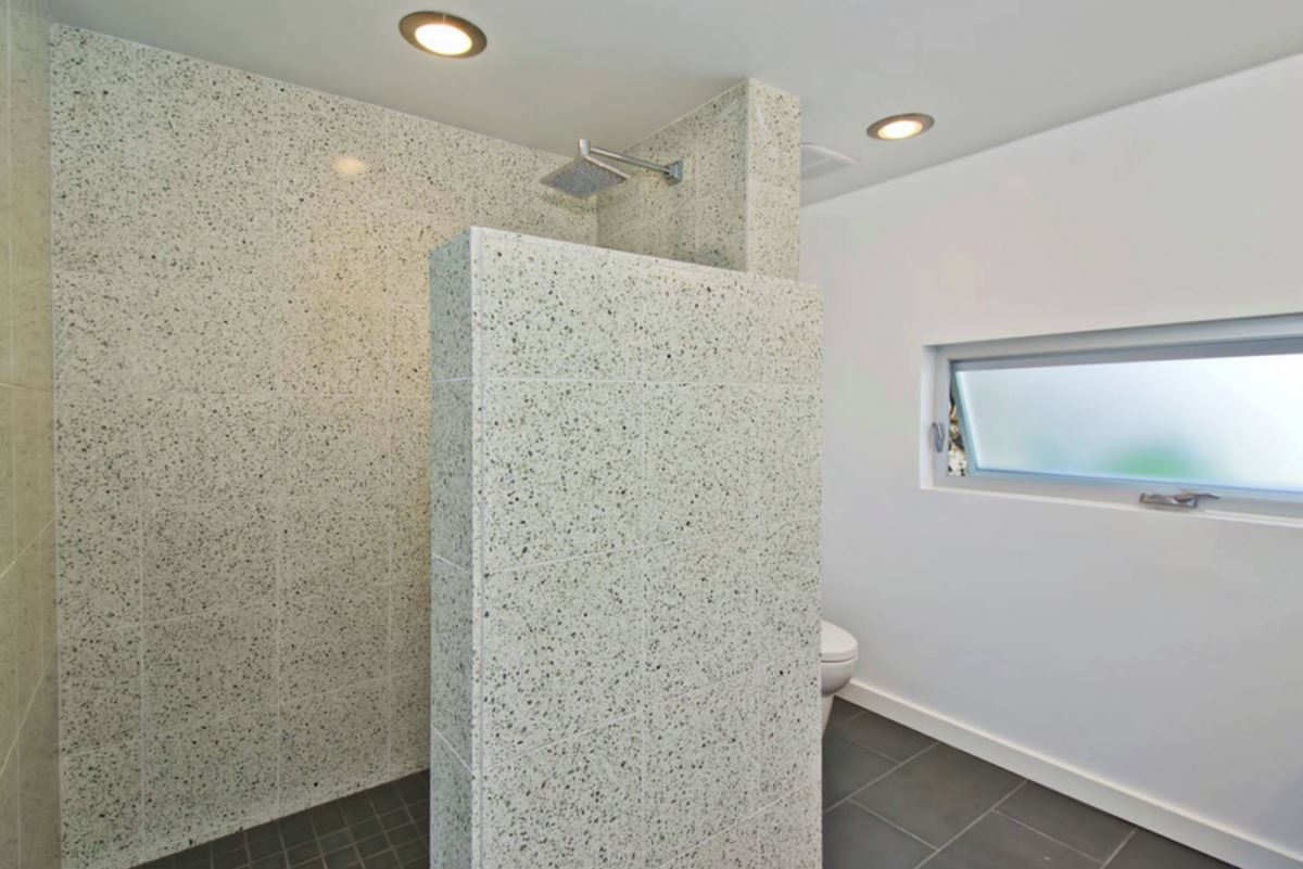 Modern bathroom with terrazzo shower tile
