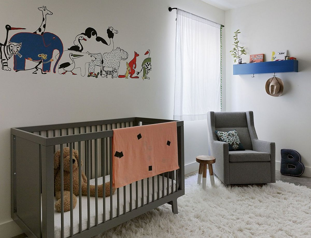 Modern nursery in gray and white