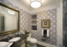 Modern powder room with geo style wallpaper