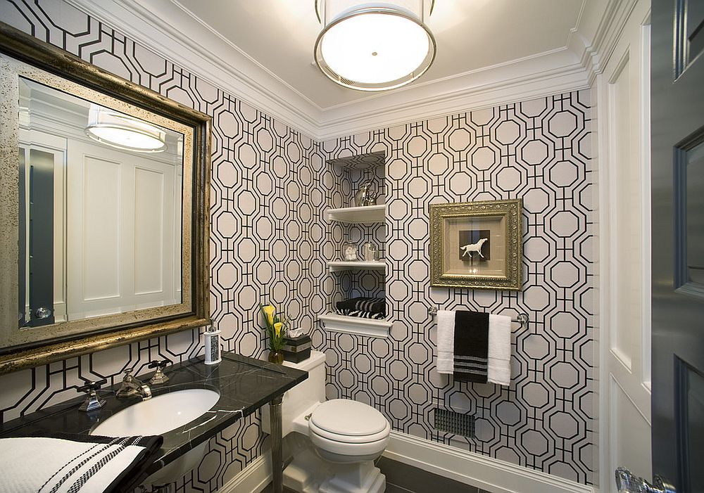 Modern powder room with geo style wallpaper [Design: Diane Bishop Interiors / Jay Greene Photography]