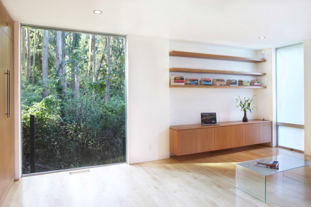 Modern room with a forest view