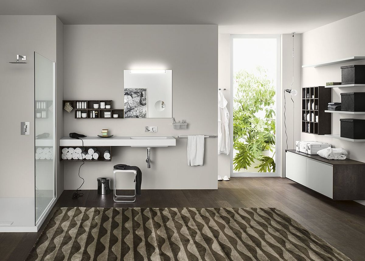 Modular bathroom furniture and vanity series from Inda