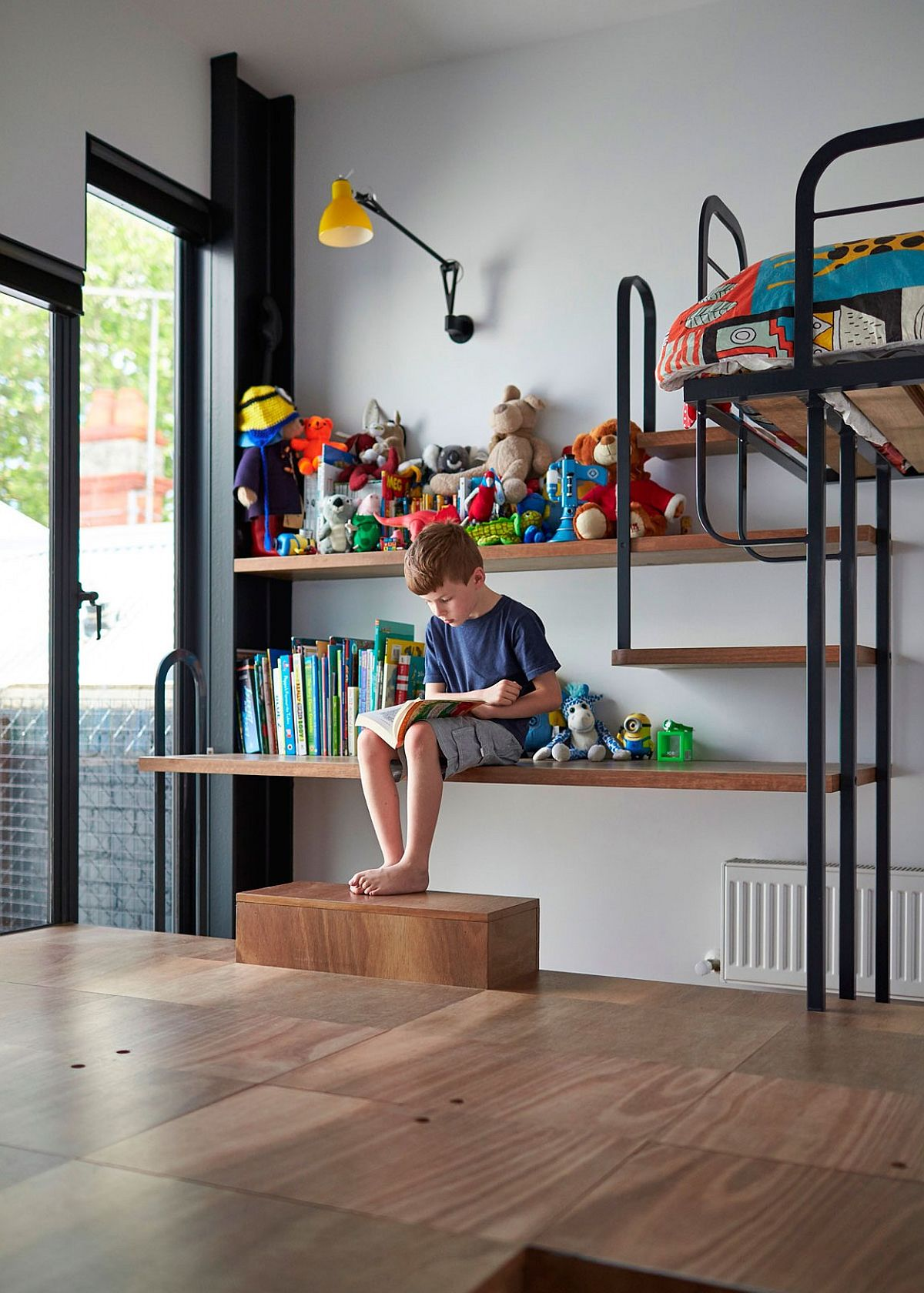 Multi-purpose, custom kids' room storage and display space