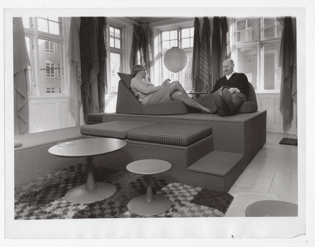 Nanna Ditzel and Percy von Halling-Koch in the showroom of the Halling-Koch Design Center, 1965. Image via Domus.