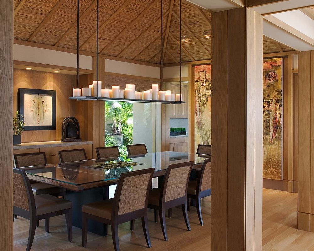 Natural materials and an organic vibe create a harmonious Asian dining room [From: Wardell Builders / Brady Architectural Photography]