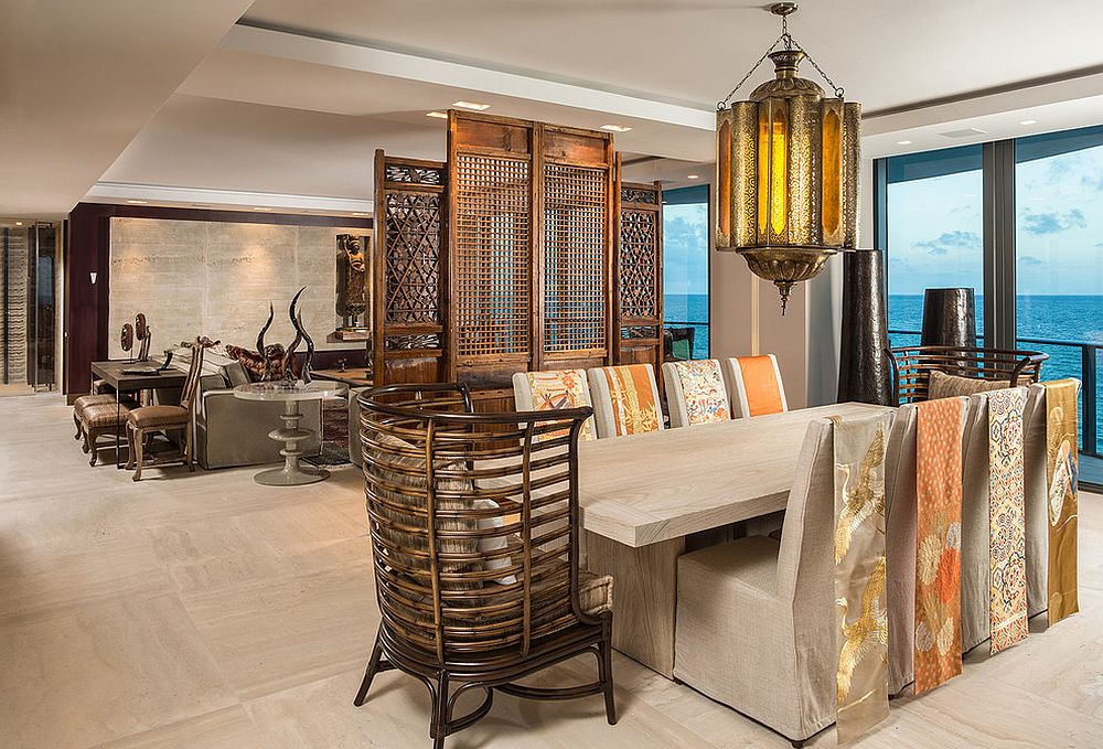 Nifty room divider and Obi sashes sewed to slip covers of the chairs usher in Asian flavor