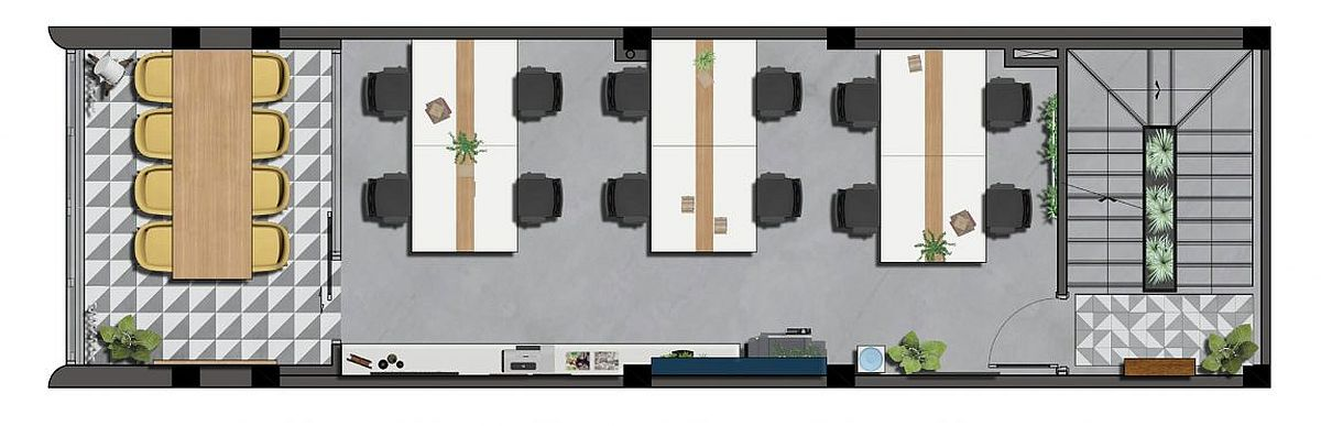 Office spaces and conference zone on the third level – Floor plan