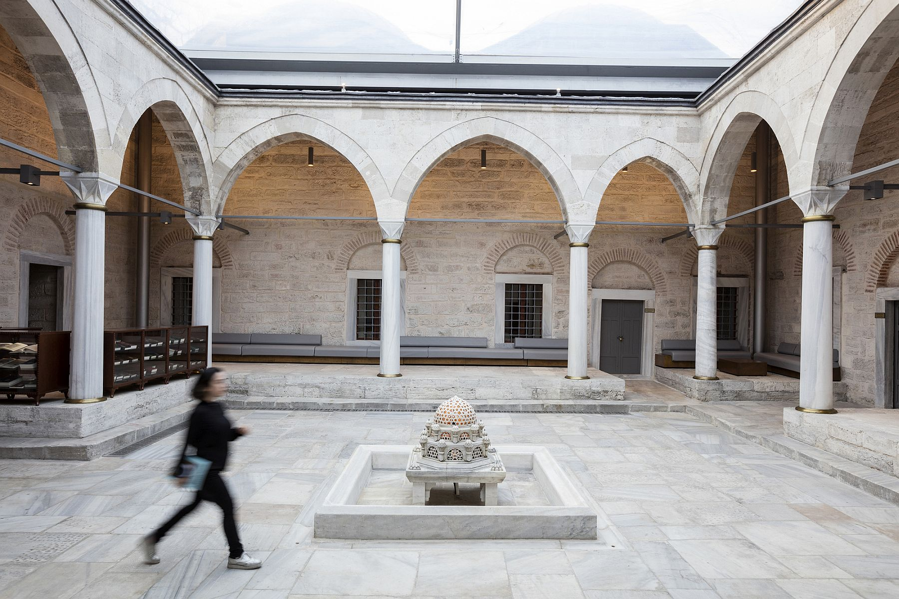 Open courtyard and entrance to the revitalized library