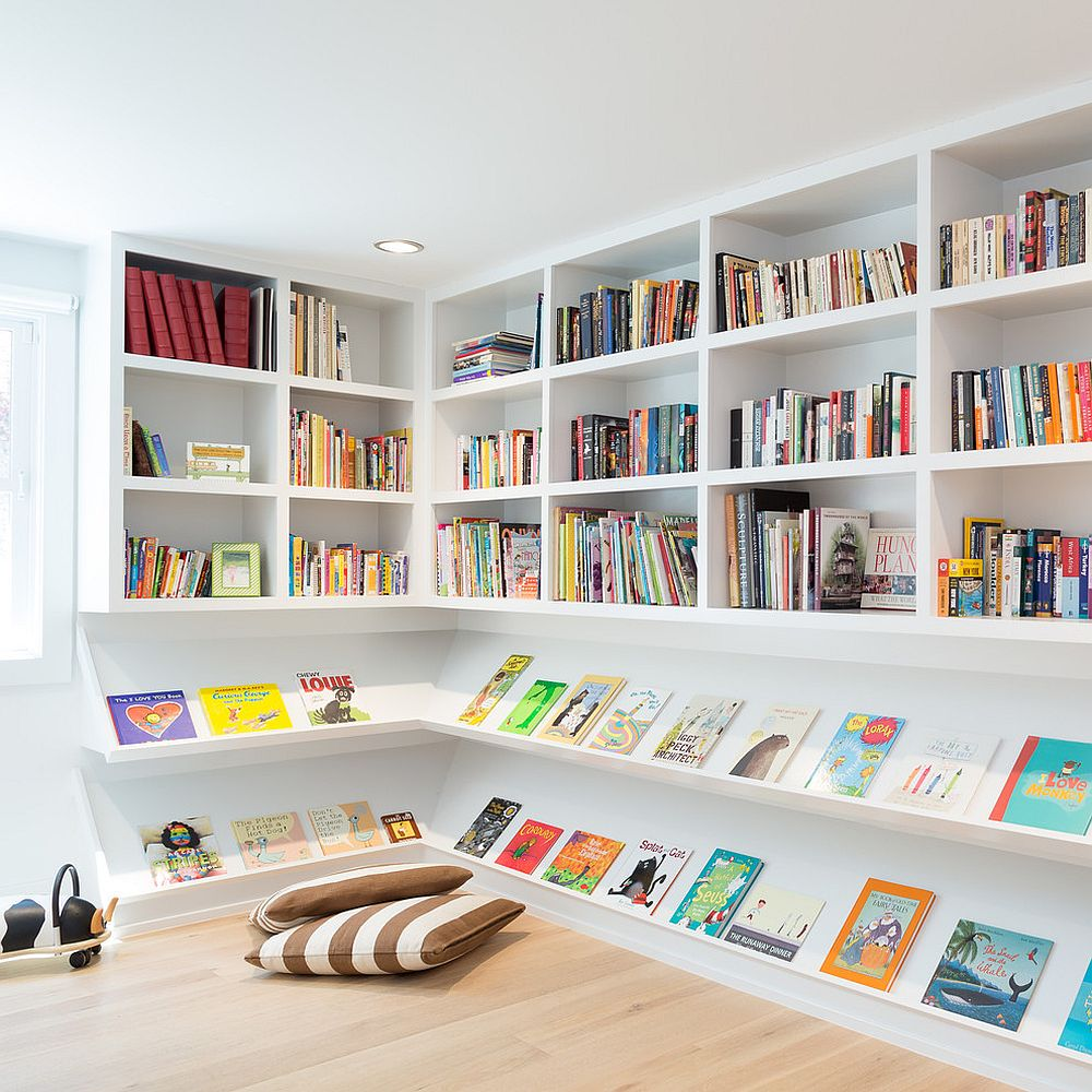 Open shelves and floor pillows give the corner a smart makeover [Design: Elevate Architecture / Photography: Black Bike Photography]