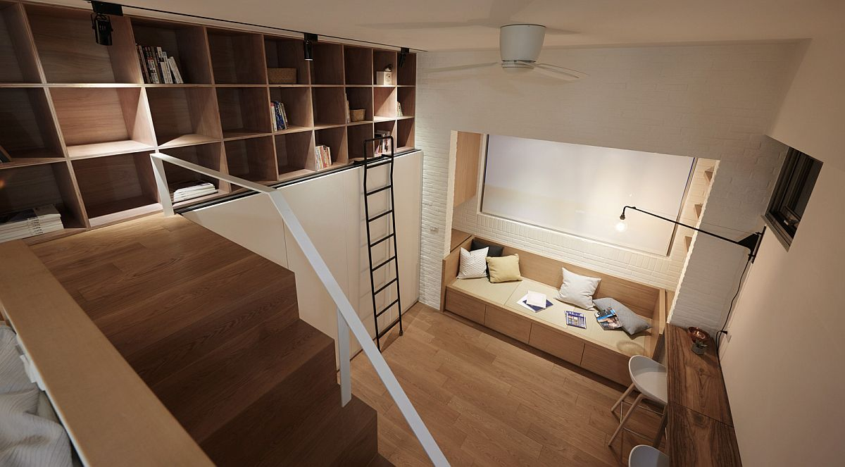 Open shelves on the top level offer ample display space