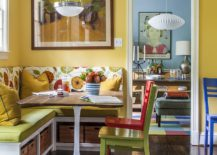 Open storage space under the bright banquette with midcentury decor 217x155 Space Saving Design: 25 Banquettes with Built in Storage Underneath