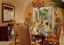Opulent Mediterranean Moroccan dining room with textured walls 217x155 Exotic and Exquisite: 16 Ways to Give the Dining Room a Moroccan Twist
