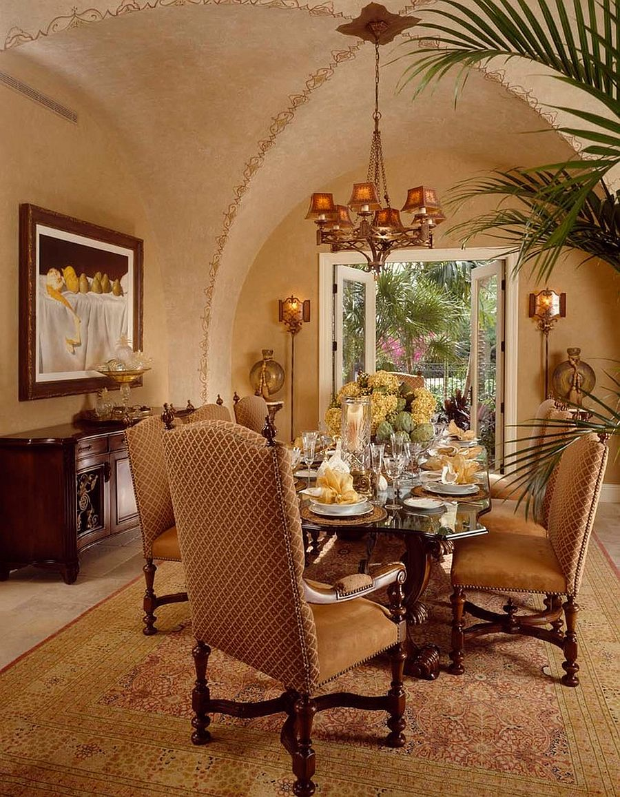 Opulent Mediterranean Moroccan dining room with textured walls [From: Rosana Fleming / George Cott]