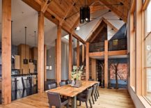 Organic vibe of the live edge dining table enhances the rustic style of this home [Design: WA Design Architects]
