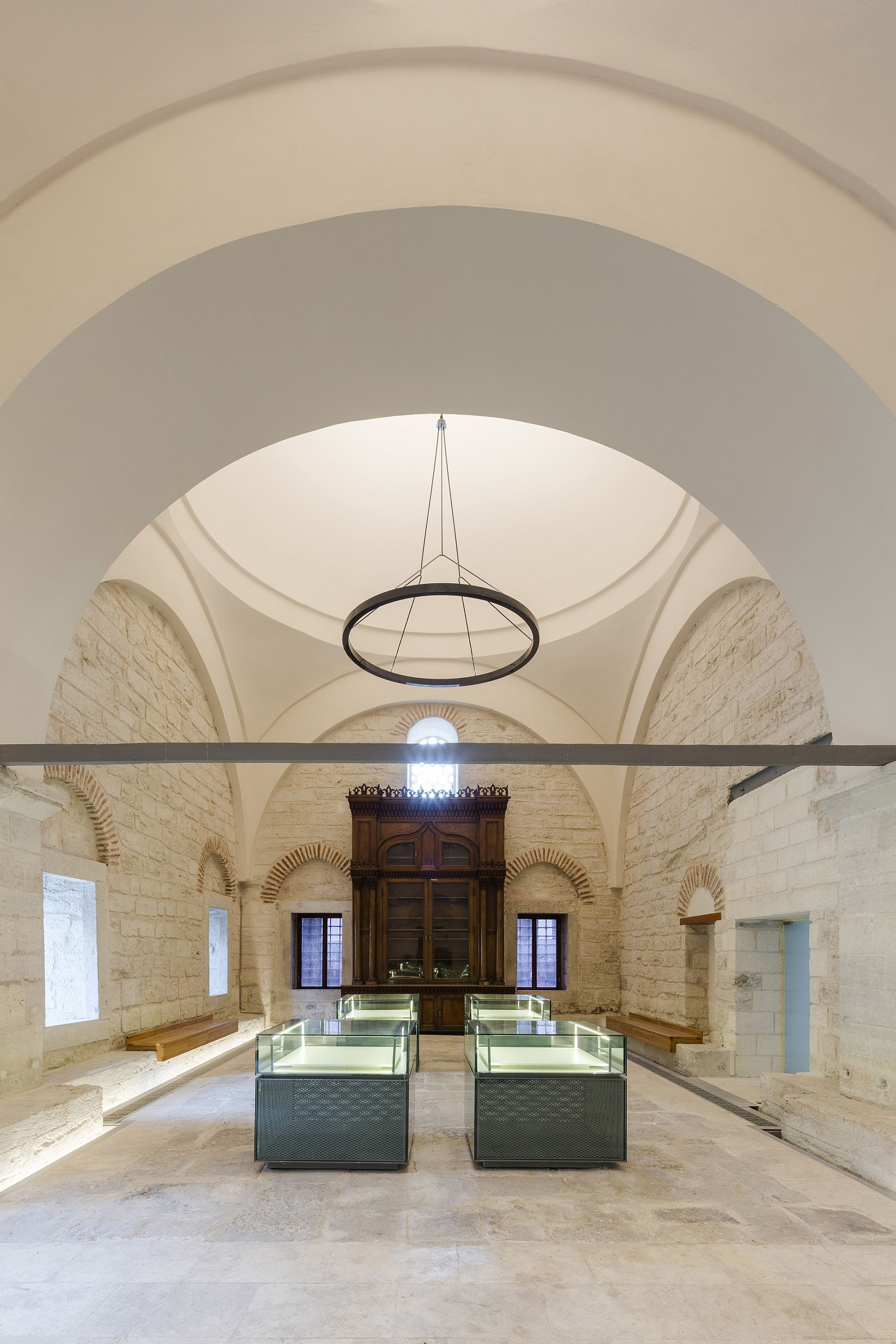 Original grandeur of the city's oldest library is kept firmly intact despite the modern glass boxes